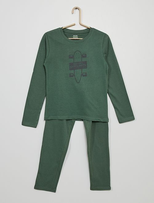 Pijama largo de punto estampado                                                                                         VERDE