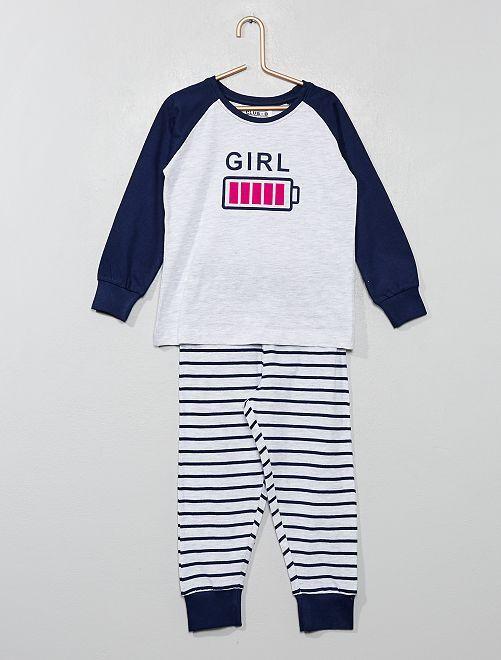 Pijama largo de rayas                             AZUL Chica