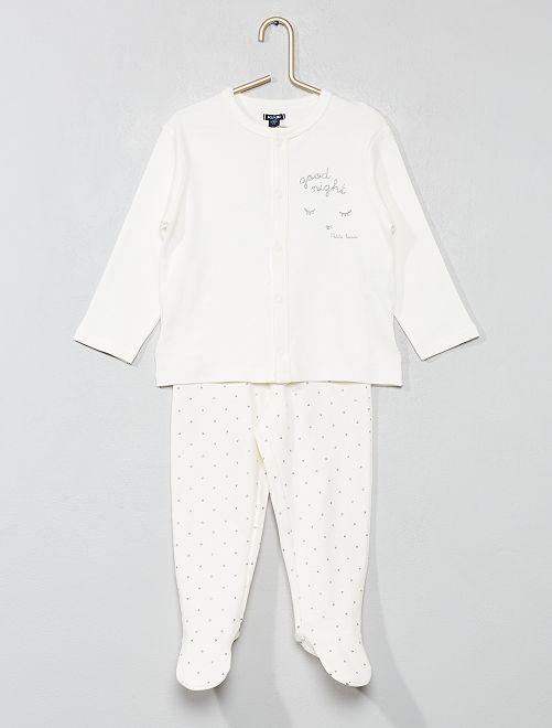 Pijama largo de rayas                                         BLANCO Bebé niña
