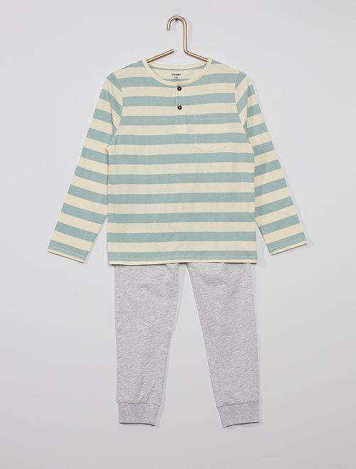 Pijama largo de rayas                                         BLANCO