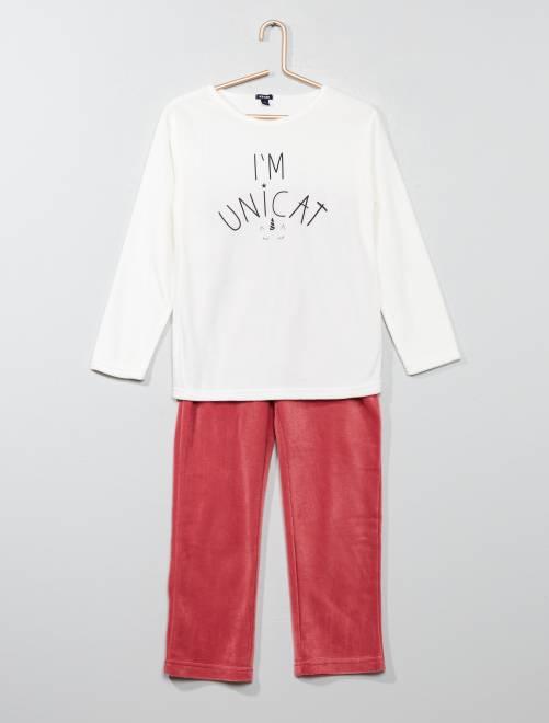Pijama largo de tejido polar                     BLANCO Chica