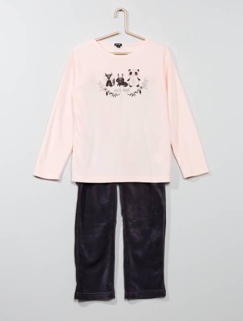 Pijama largo de tejido polar                                         rosa Chica