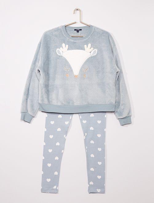 Pijama largo de tejido polar suave 'reno'                                                                 AZUL