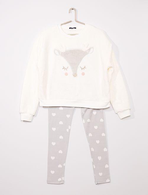Pijama largo de tejido polar suave 'reno'                                                                 BLANCO