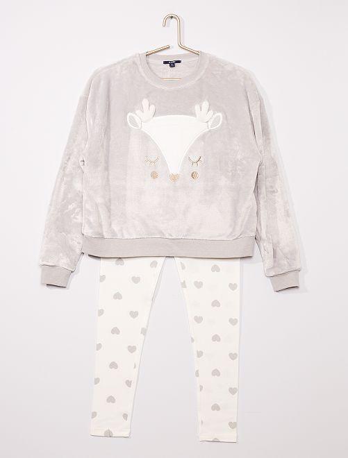 Pijama largo de tejido polar suave 'reno'                                                                 GRIS
