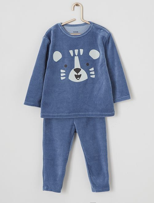 Pijama largo de terciopelo                                                                                         AZUL