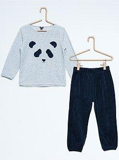 Pijama largo de terciopelo con estampado de panda - Kiabi