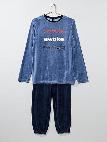 Pijama largo de terciopelo estampado - Kiabi