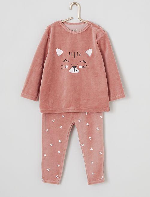 Pijama largo de terciopelo                                                                                         gato