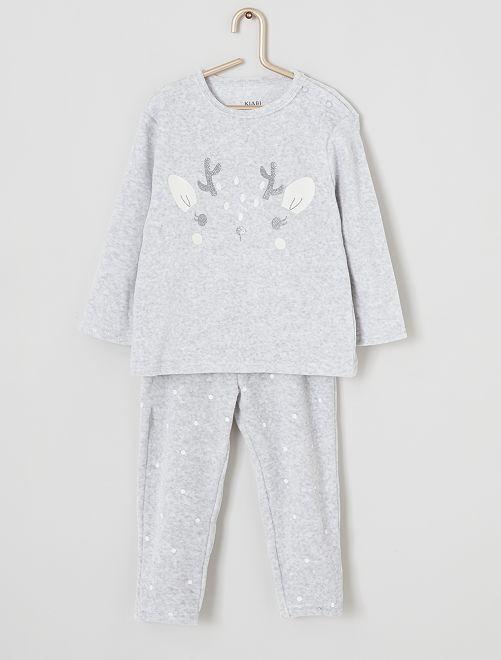 Pijama largo de terciopelo                                                                                         GRIS
