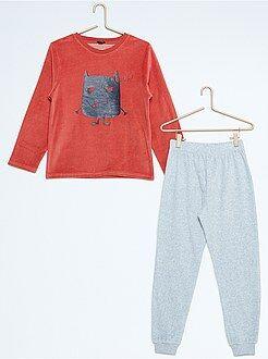 Pijamas - Pijama largo de terciopelo