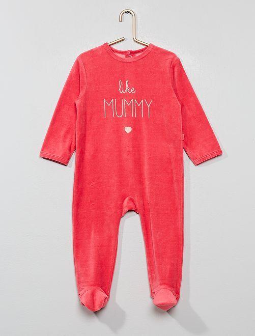 Pijama largo de terciopelo                                                     ROSA Bebé niña