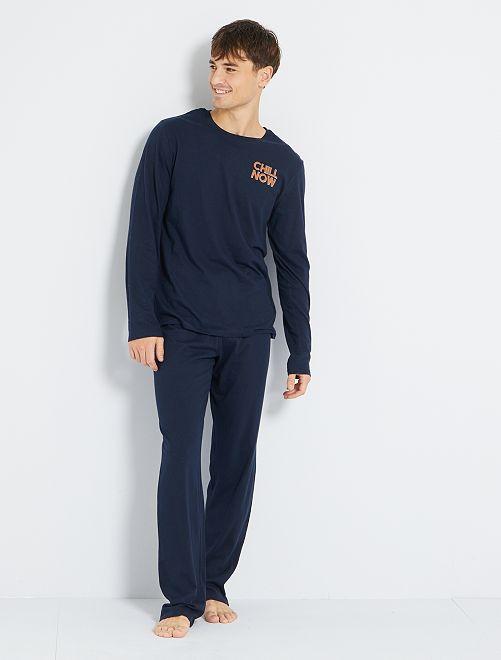 Pijama largo eco-concepción                                                     AZUL