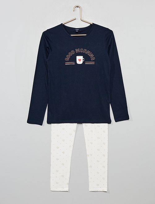 Pijama largo estampado                                                     AZUL