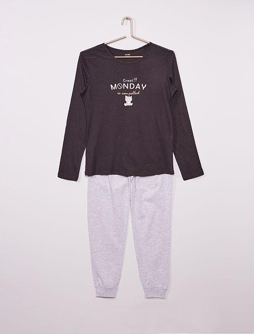 Pijama largo estampado                             NEGRO