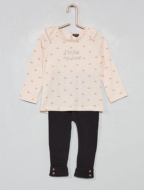 Pijama largo estampado                                                                             ROSA