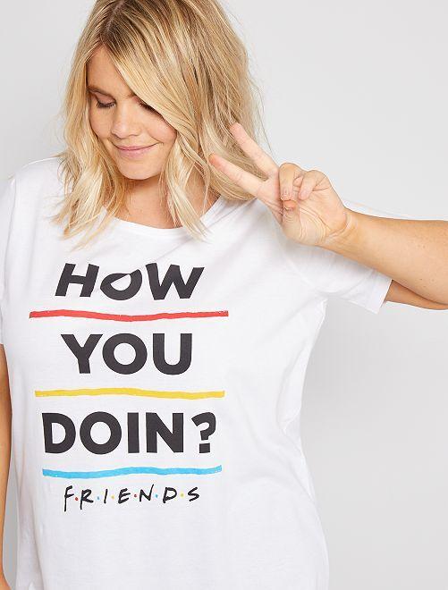 Pijama largo 'Friends'                             blanco/negro