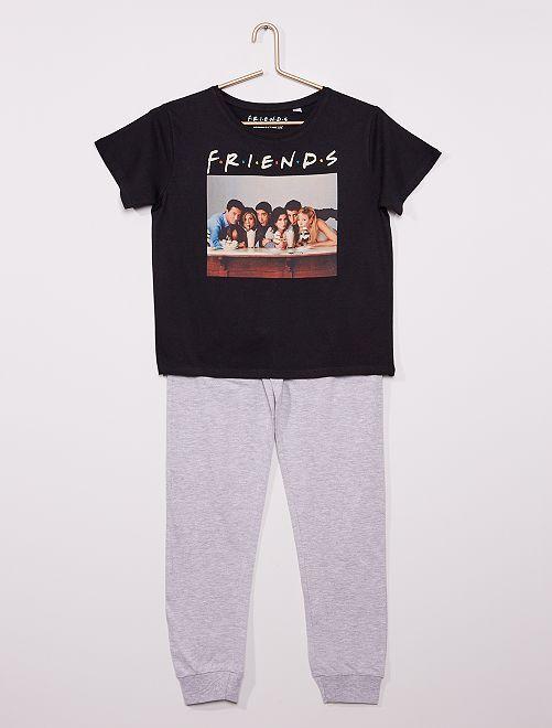 Pijama largo 'Friends'                             negro/gris