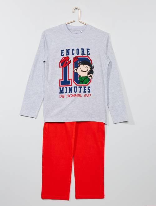 Pijama largo 'Gaston Lagaffe'                             gris/rojo Joven niño