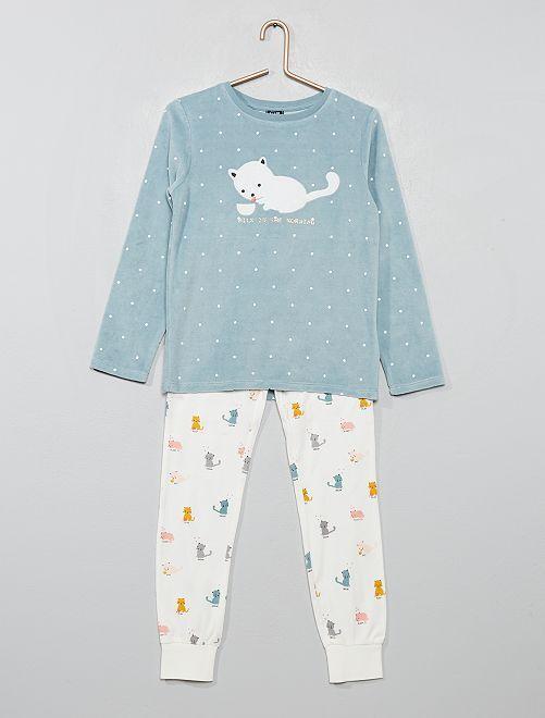 Pijama largo 'gato'                                         GRIS