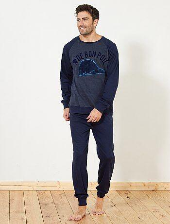 Hombre talla S-XXL - Pijama largo grueso - Kiabi