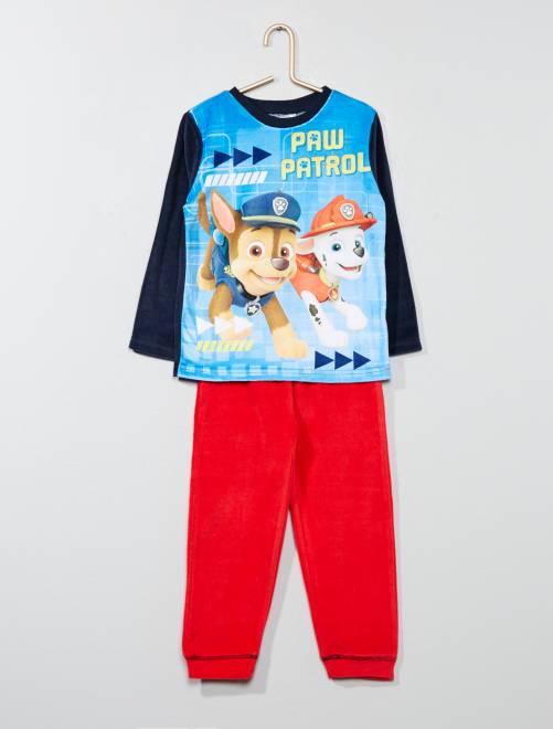 Pijama largo 'La Patrulla Canina' de terciopelo                             marino/rojo Chico