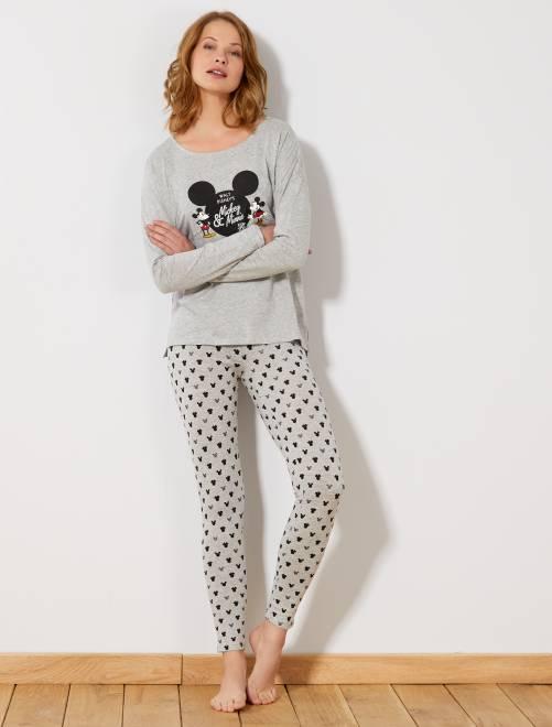 Pijama largo 'Mickey'                                 gris Lencería de la s a la xxl