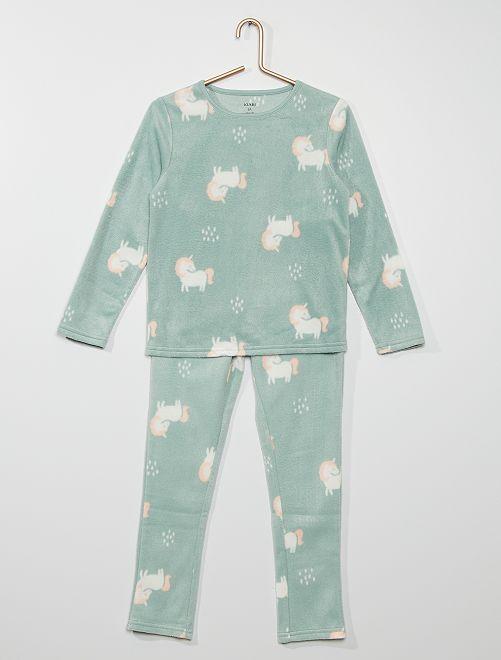 Pijama largo polar                                                                 VERDE