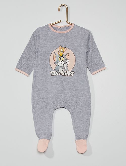 Pijama largo punto 'Tom y Jerry'                             gris chiné