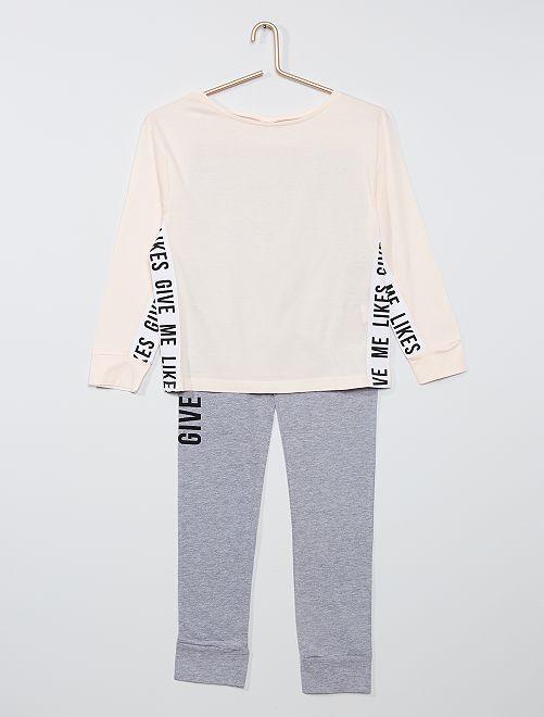 Pijama largo                             rosa/gris