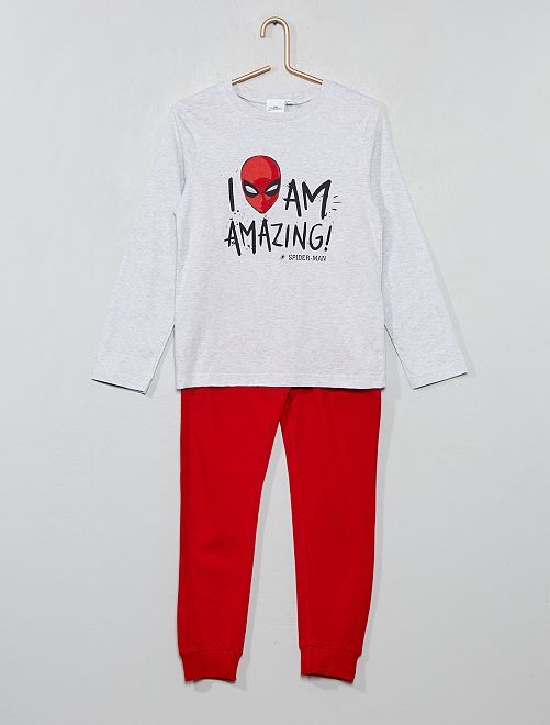 Pijama largo 'Spiderman'                             gris/rojo Chico