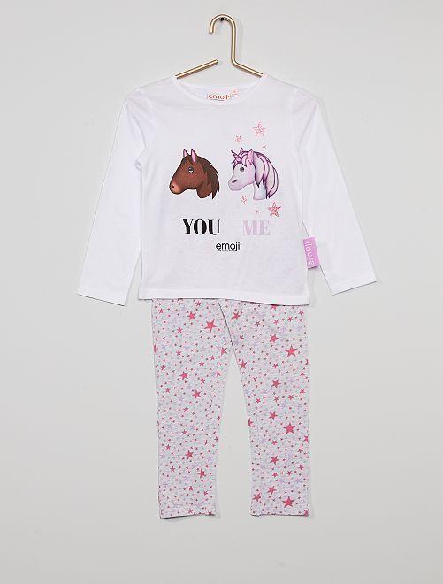 Pijama largo 'unicornio y estrellas'                             blanco