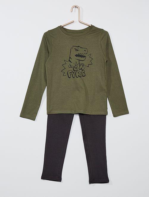 Pijama largo                                                                                         verde/NEGRO