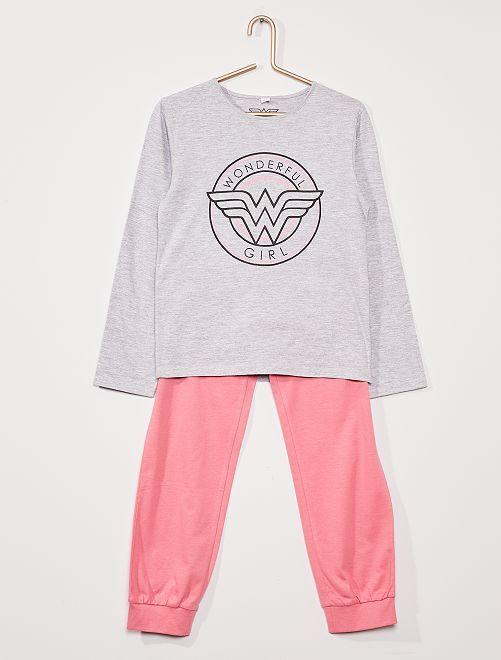 Pijama largo 'Wonder Woman' de 'DC Comics'                             gris/rosa