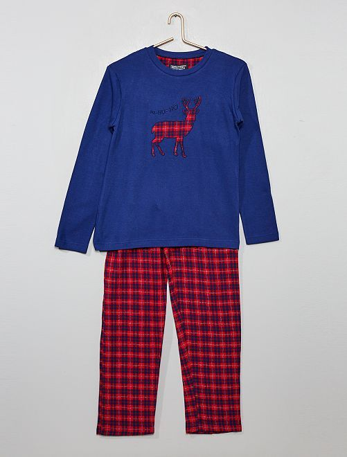 Pijama navideño en dos materiales                             AZUL