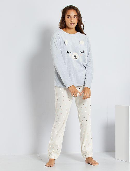 Pijama 'oso' de punto de felpa                                                                 BLANCO