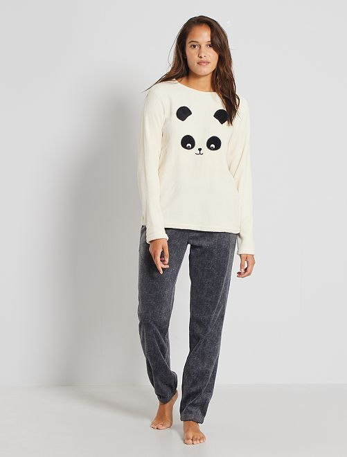 Pijama 'panda' de punto de peluche                                                                 GRIS