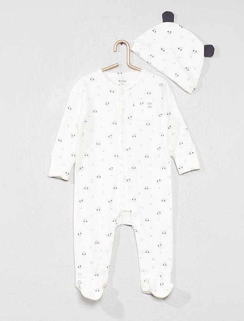 Pijama 'perro' + gorro                                         BLANCO Bebé niña