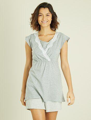 Pijama premamá con top de lactancia integrado - Kiabi