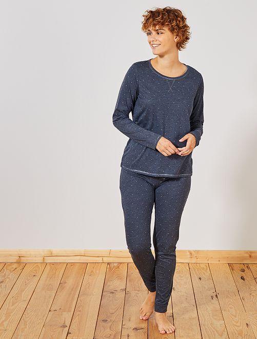 Pijama principalmente en algodón orgánico                                                                                                                             AZUL Lencería de la s a la xxl