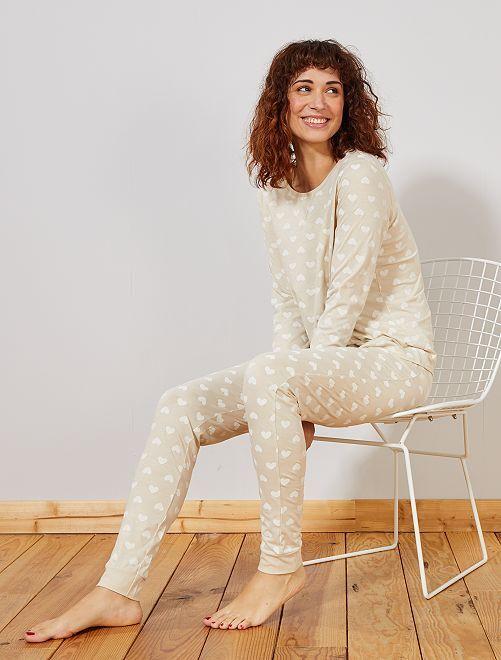 Pijama principalmente en algodón orgánico                                                                             BEIGE