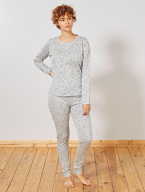 Pijama corto de algodón orgánico                                                         GRIS