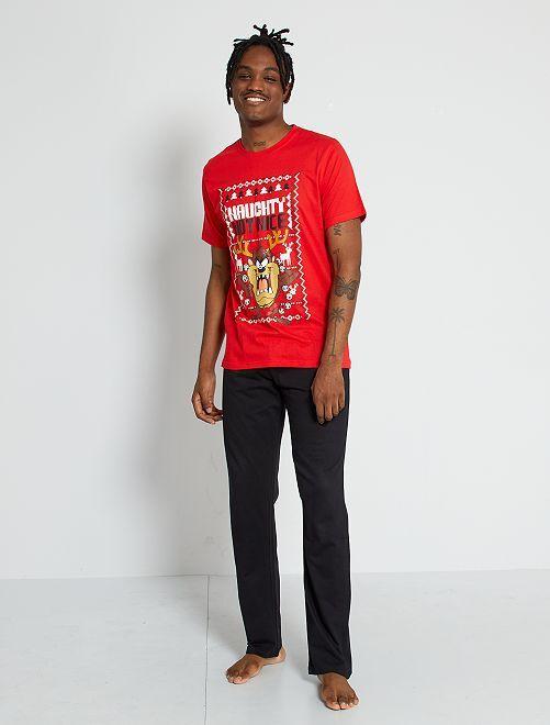 Pijama 'Taz' 'Looney Tunes' 'Warner bros.'                             rojo/negro