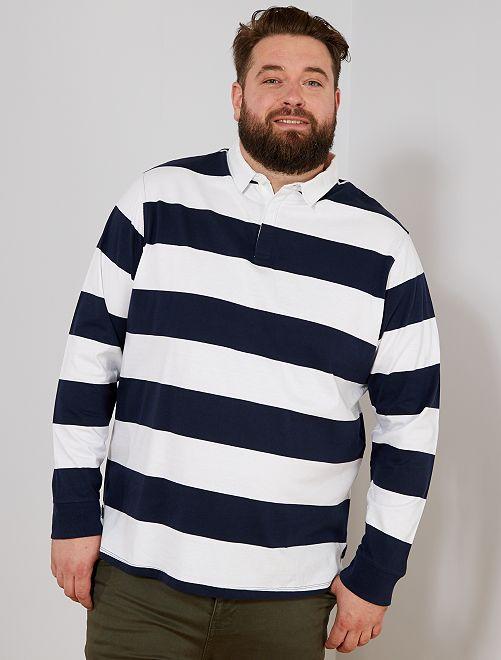 Polo a rayas estilo rugby                                                                 blanco/azul