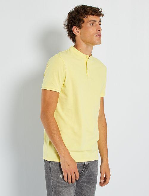 Polo cuello mao piqué algodón                                         amarillo limón