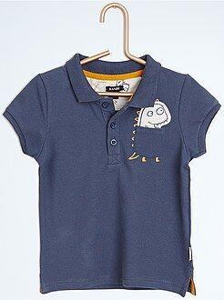 Niño 0-36 meses Polo de piqué de algodón con parche de 'dinosaurio'