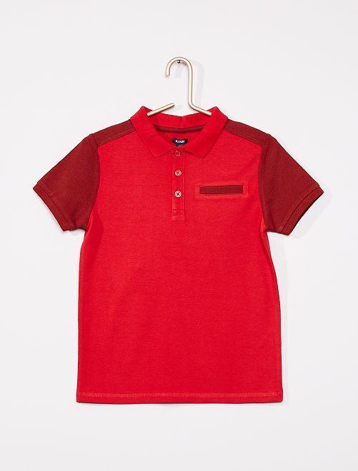Polo liso de manga corta                                         rojo