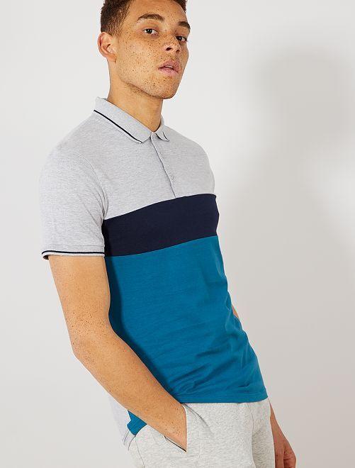 Polo slim colorblock                                                                             azul corsario Hombre