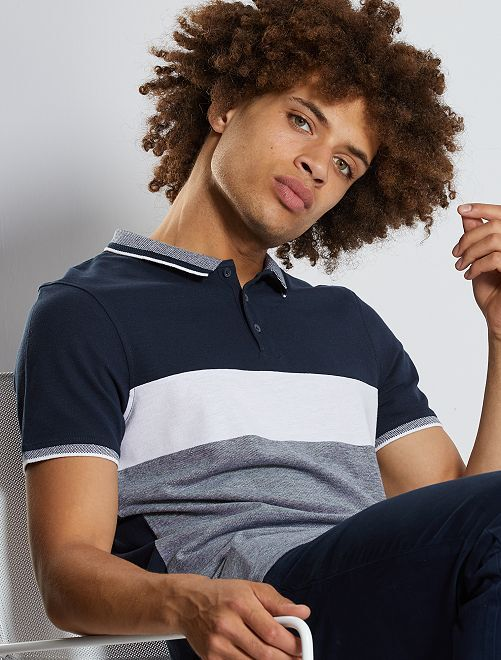 Polo slim colorblock                                                     AZUL
