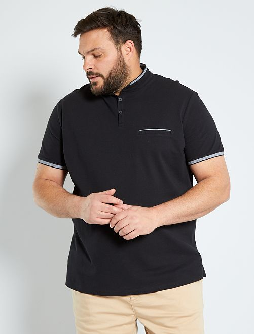 Polo slim con cuello mao                                         negro